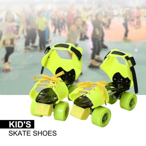 Children Kid's Adjustable Sports Roller Skating Shoes Green Colour