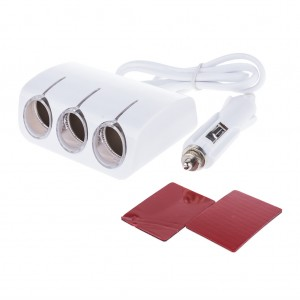 120W Car Adapter Cigarette Lighter Triple Direct LED Socket - White