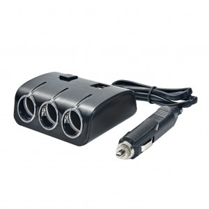 3-Way 120W 12V/24V Car Power Splitter with Dual USB Car Charger Black Colour