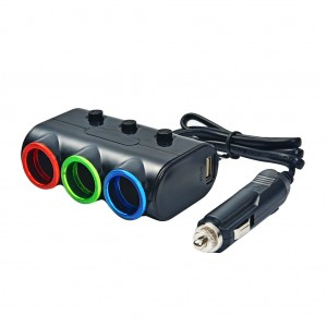 120W 3-Socket Dual USB Car Power Splitter Charger with LED Light