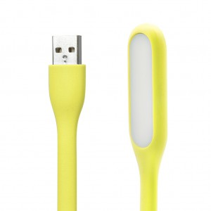 Bendable LED Light Silicone Mini USB Lamp for Reading-Yellow