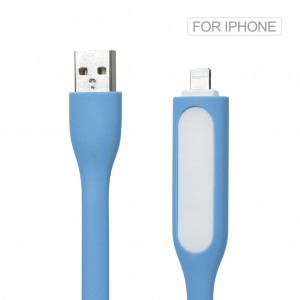 2 in 1 Silicone Mini USB LED Light Cable for iPhone 7 6S 6 Plus SE 5S Blue