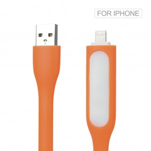 2 in 1 Silicone Mini USB LED Light Cable for iPhone 7 6S 6 Plus SE 5S Orange