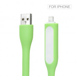 2 in 1 Silicone Mini USB LED Light Cable for iPhone 7 6S 6 Plus SE 5S Green