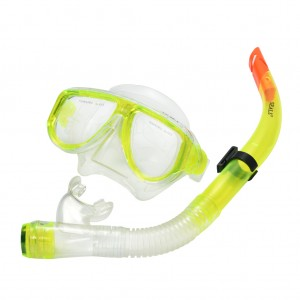 Snorkel Mask Goggles Gear Set with Breathing Tube Apple Green