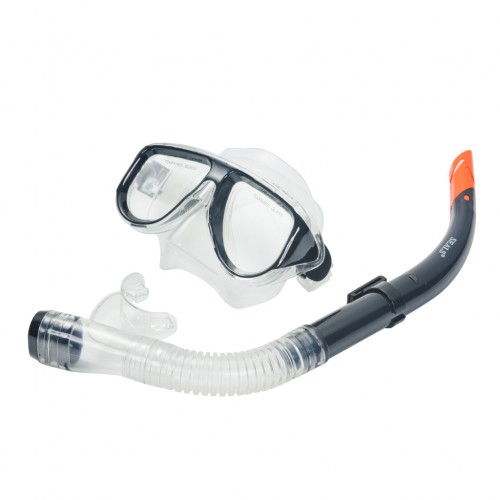 Snorkel Mask Goggles Gear Set with Breathing Tube Black