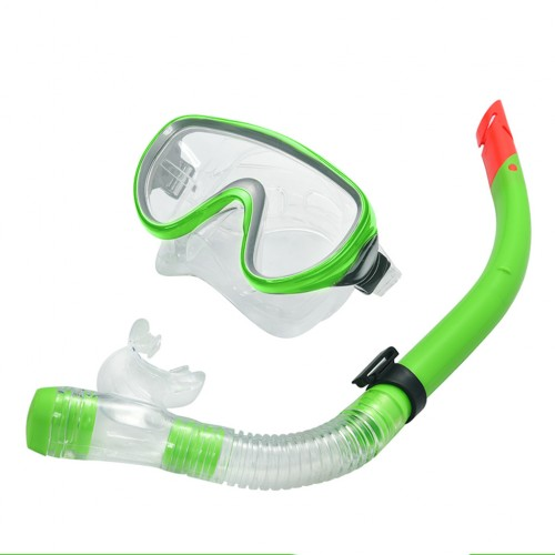Swimming Goggles Mask and PVC Snorkel Set Apple Green