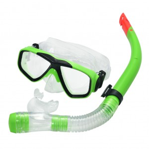 Swimming Goggles Mask Silicone PVC Anti-Fog Snorkel Set Apple Green