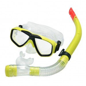 Swimming Goggles Mask and PVC Snorkel Set Yellow