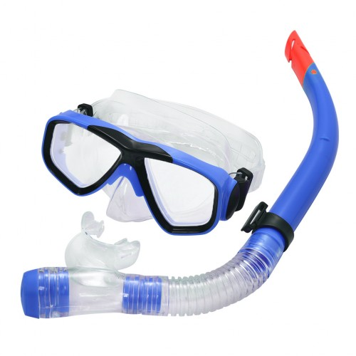 Swimming Goggles Mask fogless PVC Snorkel Set Royal