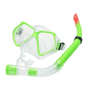 Snorkel Set Combo Adventure Swimming Glass Lens fogless Goggles Apple Green