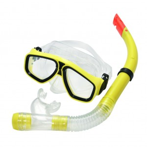 Snorkel Set Combo Swimming Goggles and PVC Snorkel Yellow