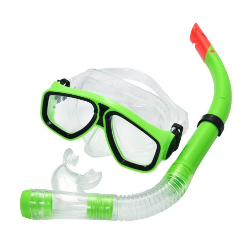 Snorkel Set Combo Swimming Goggles and PVC Snorkel Apple Green