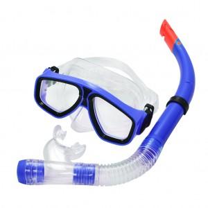 Snorkel Combo Set Swimming Goggles PVC Snorkel Anti-Fog Royal