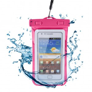 Waterproof Case Pouch Dry Bag for Mobile Phone with Lanyard Hot Pink