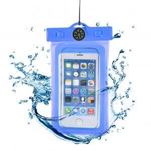 "Waterproof Phone Case Dry Bag for 4.7""Mobile Phone with Compass Sky Blue"