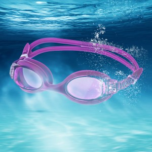 Anti-Fog &Anti-UV Silicone Swimming Goggles - Lilac Purple