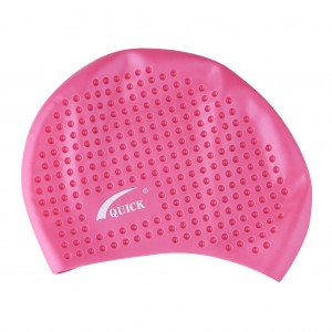 Bubble Swimming Long Hair Cap-Pale Pink