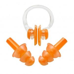 Soft Ear Plugs Nose Clip Splint Set for Swimming Light Brick