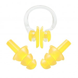 Soft Ear Plugs Nose Clip Splint Set for Swimming Yellow