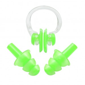 Soft Ear Plugs Nose Clip Splint Set for Swimming Apple Green