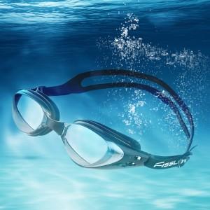 Mirrored Silicone Swimming Goggles UV Protection Anti Fog Black