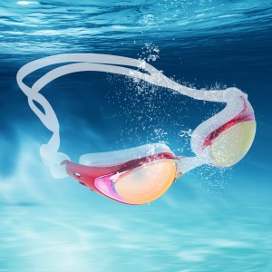 Mirrored Silicone Swimming Goggles UV Protection Anti Fog Red