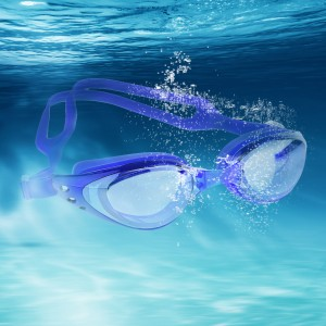Mirrored Silicone Swimming Goggles UV Protection Anti Fog Royal