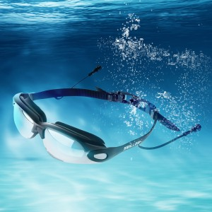 Mirrored Swimming Goggles UV Protection With Ear Plug Black