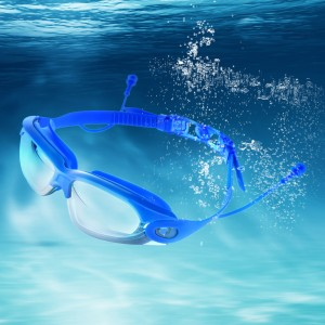 Mirrored Swimming Goggles UV Protection With Ear Plug Royal