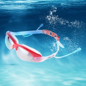 Mirrored Swimming Goggles UV Protection With Ear Plug Red