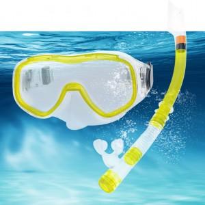 Adult Snorkel Diving Mask PVC Snorkel Set Yellow