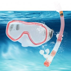 Adult Snorkel Mask Set Swimming Goggles PVC Snorkel Red