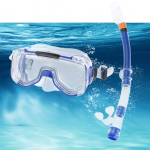 Swimming Goggles Mask and PVC Snorkel Adult Snorkel Set Royal