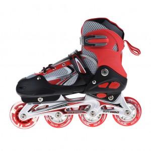 Adjustable Kids Inline Skates Flashing Wheels Shoes Free Size - Red
