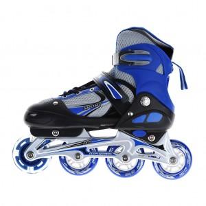 Adjustable Kids Inline Skates Flashing Wheels Shoes Free Size - Blue