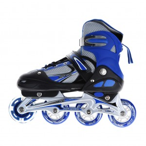 Adjustable Kids Inline Skates Flashing Wheels M Size - Blue