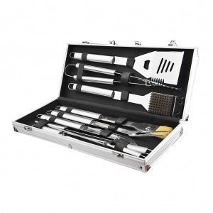 10 Piece Stainless Steel Barbecue Grill Tool Set