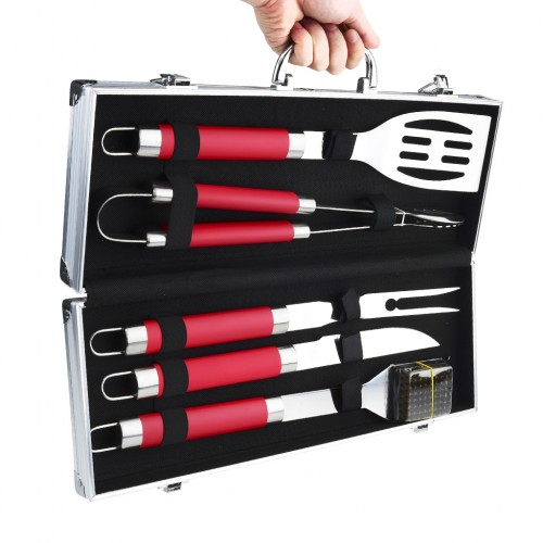 5 Piece Skidproof BBQ Grill Tool Set Red