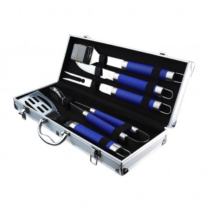 5 Piece Skidproof BBQ Grill Tool Set Blue