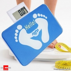 Portable Tempered Glass Digital Body Weight Scale - Blue