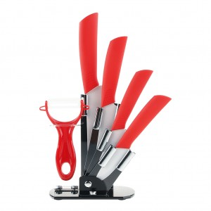 6pcs Ceramic Knives Kitchen Knife Set with Peeler - Red
