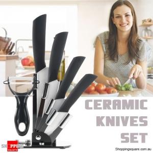6pcs Ceramic Knives Kitchen Knife Set with Peeler - Black