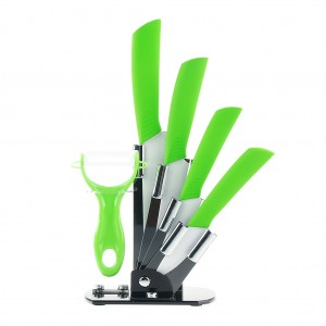 6pcs Ceramic Knives Kitchen Knife Set with Peeler - Green