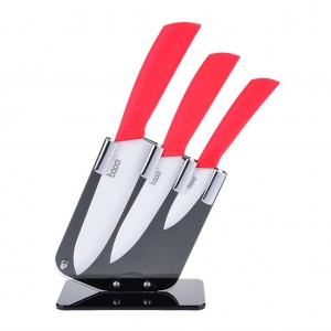 3PCS Set of Ceramic Knives Kitchen Knife - Red
