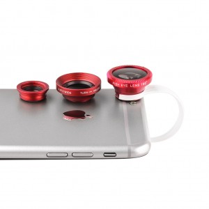 Universal Clip-On Lens 3 in 1 for Mobile Phones/Pads-Red