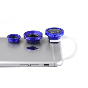Universal Clip-On Lens 3 in 1 for Mobile Phones/Pads-Blue