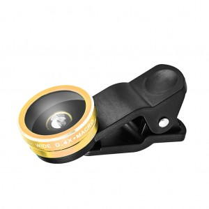 Universal 2 in 1 Clip Lens Kit for Cell Phone/Tablet-Gold