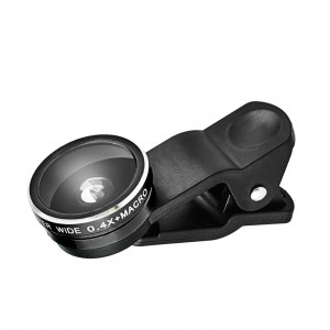 Universal 2 in 1 Clip Lens Kit for Cell Phone/Tablet-Black