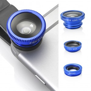 3 in 1 Portable Clip Camera Lens Kit for Universal Mobile Phone Tablet - Blue